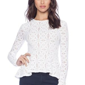 BCBGMAXAZRIA Top SMALL LONG SLEEVE LACE